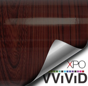 gloss dark cedar architectural wood grain vinyl wrap